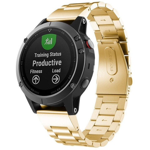 Gold Classic Stainless Steel Garmin Fenix 5 Band | OzStraps