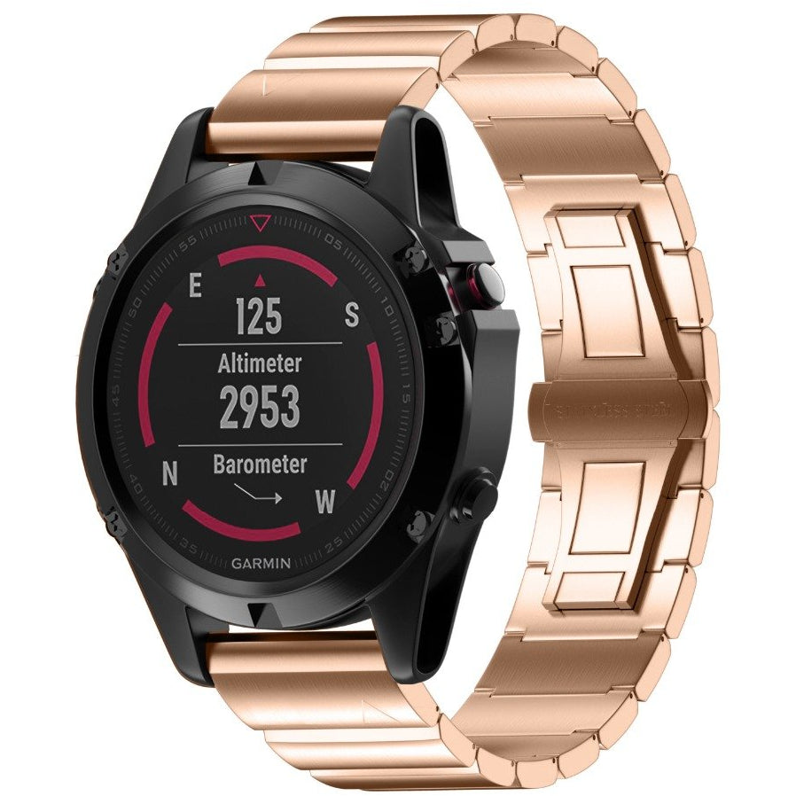 Rose Gold Ceramic Stainless Steel Garmin Fenix 5X / Fenix 6X Band - OzStraps