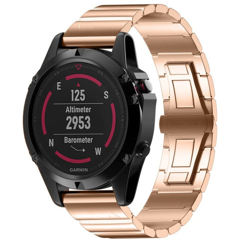 Rose Gold Ceramic Stainless Steel Garmin Fenix 5X Band | OzStraps
