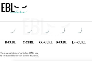 Eyelash extension curl chart B, C, CC, D, and L+ Curl