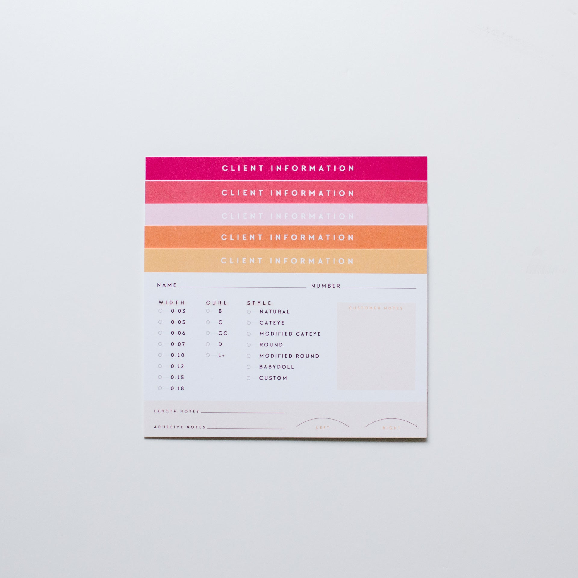 Client Information Cards | Set of 50