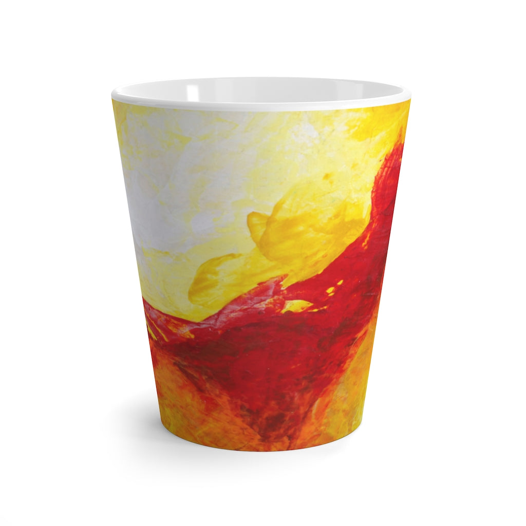 Yellow Red Coffee LATTE MUG Unique Abstract Art