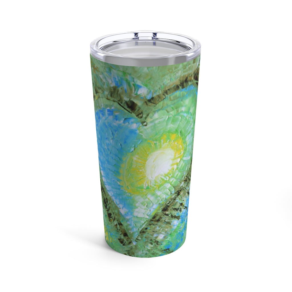 Travel TUMBLER with Heart 20oz Multicolored Love Art
