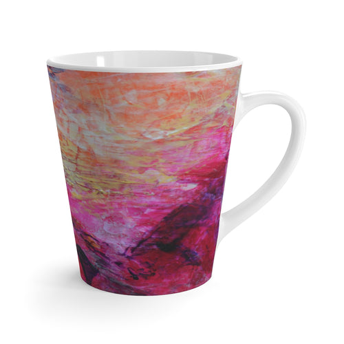 Pink Orange Abstract Heart Coffee LATTE MUG 12oz printed Artsy Style
