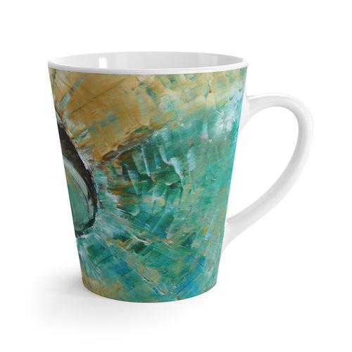 Unique 12oz Coffee LATTE MUG Turquoise Earth Tones Colors