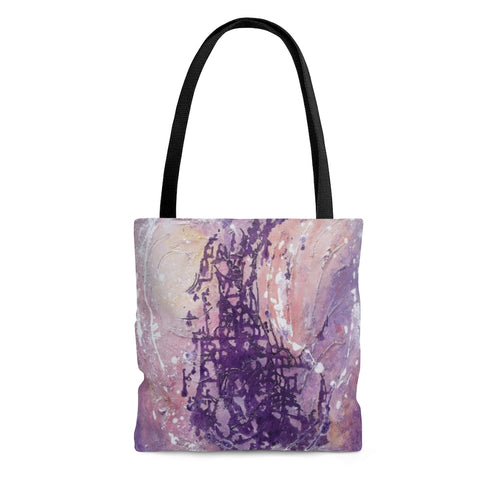 Artsy Purple TOTE BAG printed with Multicolored Abstract Art