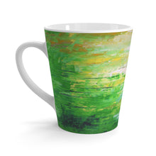Green Abstract LATTE MUG 12 oz for Coffee  or Tea Cup printed in Artsy Style