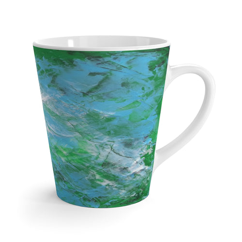 Coffee LATTE MUG 12 oz printed with light blue & green abstract art