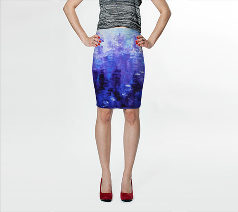 Abstract Indigo Blue Fitted Skirt #1022
