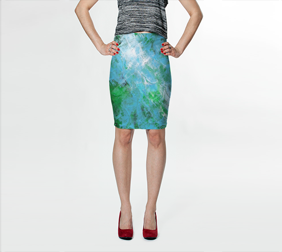 Abstract Light Blue Green Fitted Skirt 1047