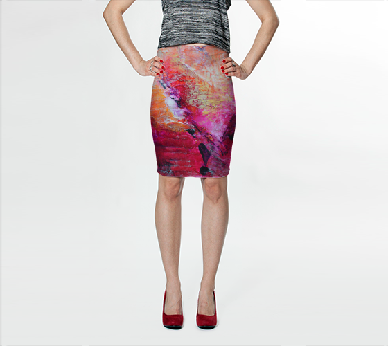 Abstract Heart - Pink Orange Fuchsia Fitted Skirt 1067