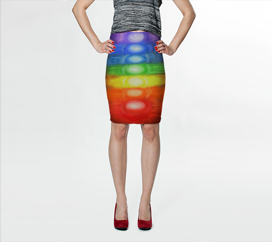 7 CHAKRAS - Fitted Skirt Rainbow Colors 1034