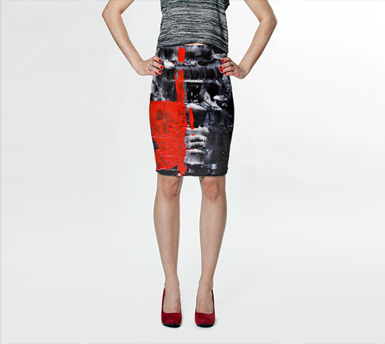 Abstract Red Black White Fitted Skirt 1069