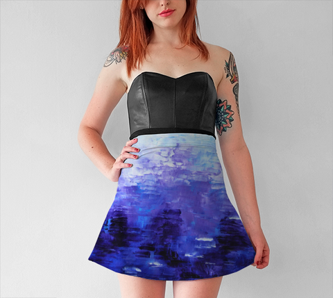 Abstract Indigo Blue Flare Skirt #1022