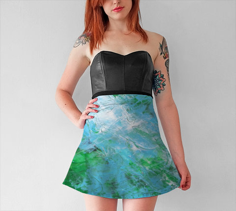 Abstract Light Blue Green Flare Skirt 1047