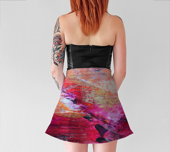 Abstract Heart - Pink Orange Fuchsia Flare Skirt 1067