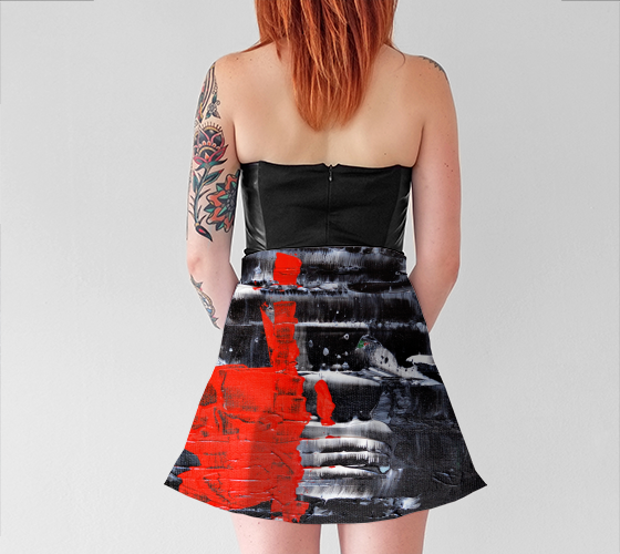 Abstract Red Black White Flare Skirt 1069