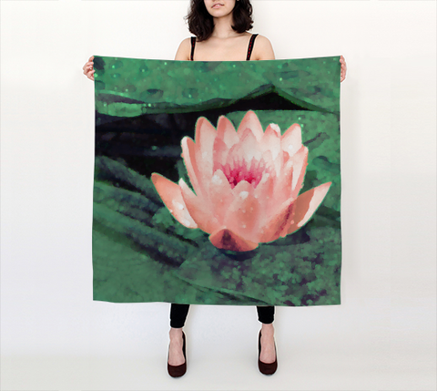 Lotus Flower Art Big Silk Scarf 36x36