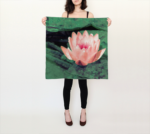 Lotus Flower Art Silk Scarf 26x26