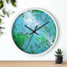 Green Blue Abstract WALL CLOCK wooden frame