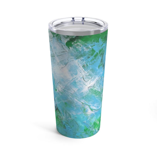Artsy Travel TUMBLER 20oz Abstract Blue Green Art