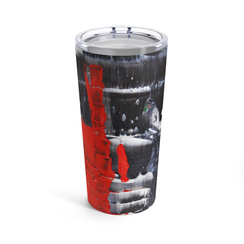 Cool Black White Red Abstract TUMBLER 20oz with Lid
