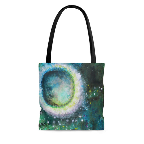 Crystal Moon TOTE BAG Green Abstract Print Artsy Style