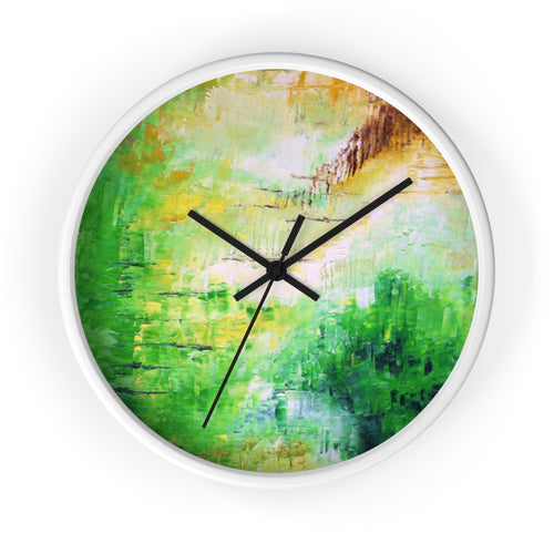 Green Abstract Art WALL CLOCK Unique Decor
