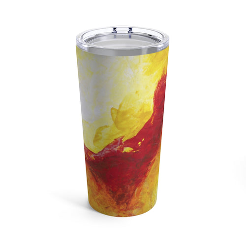 Yellow Red TUMBLER with Lid 20oz Abstract Artsy Printed Style