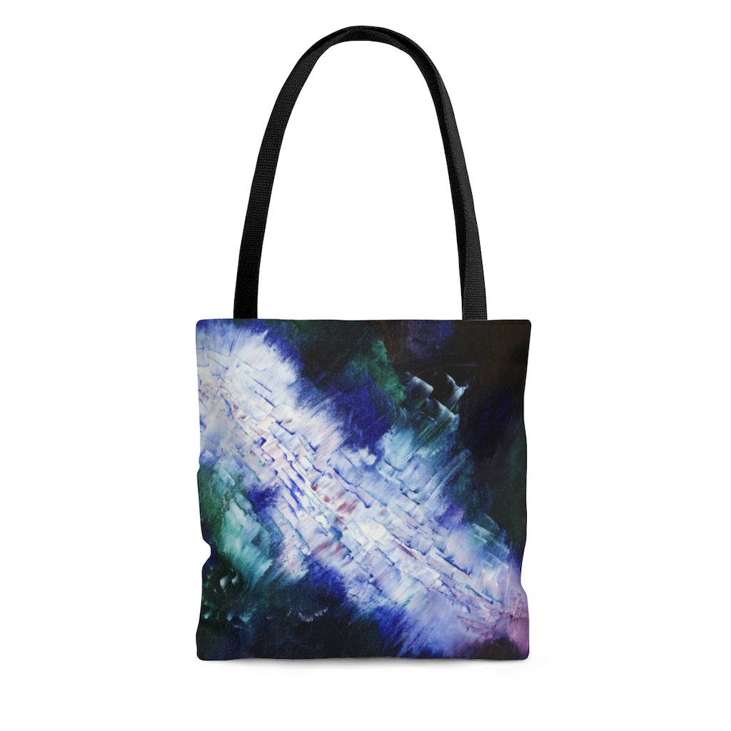 Energetic Abstract Art TOTE BAG - Navy Blue and White