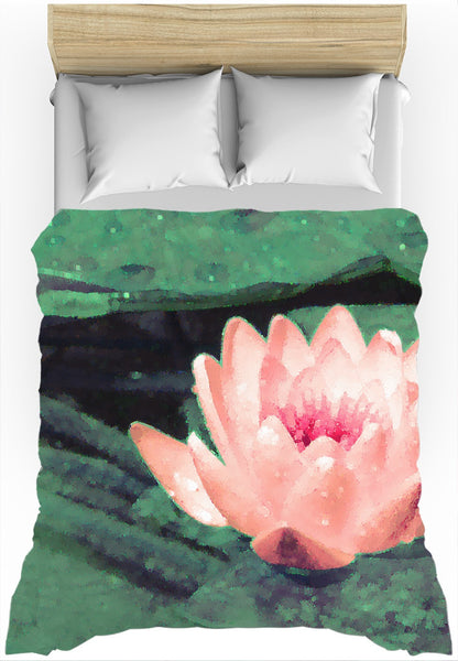 LOTUS FLOWER Art - Duvet Cover, Green, Pastel Coral Rose