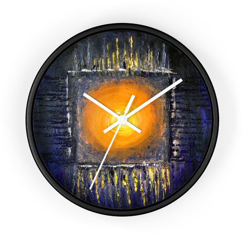 Black Orange Sun Art WALL CLOCK Abstract