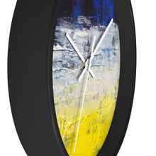 Urban Edgy WALL CLOCK Blue White Yellow Abstract Art