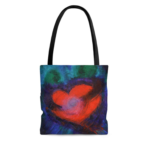 True Love TOTE BAG with Red Heart Art Multicolored