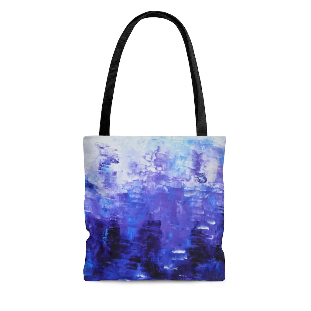 Cool TOTE BAG printed with Original Indigo Blue Abstract Art