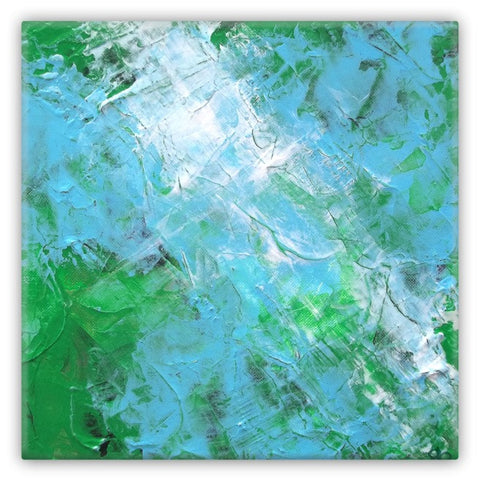 Abstract Light Blue Green Art Magnet 2x2 square Metal 1047