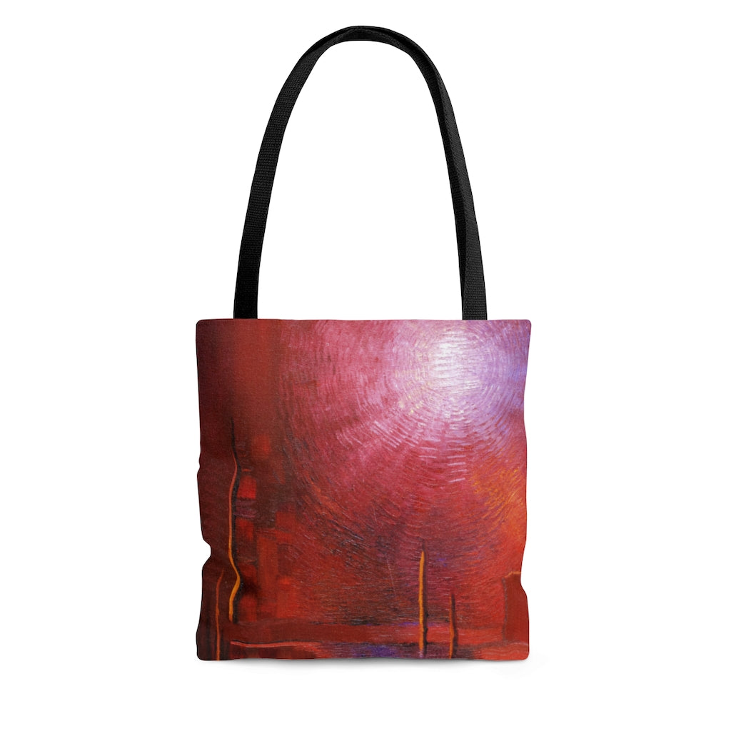 TOTE BAG printed with Red Abstract Art