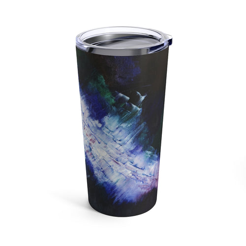 Blue Travel Mug TUMBLER 20 oz Unique Abstract Art Design