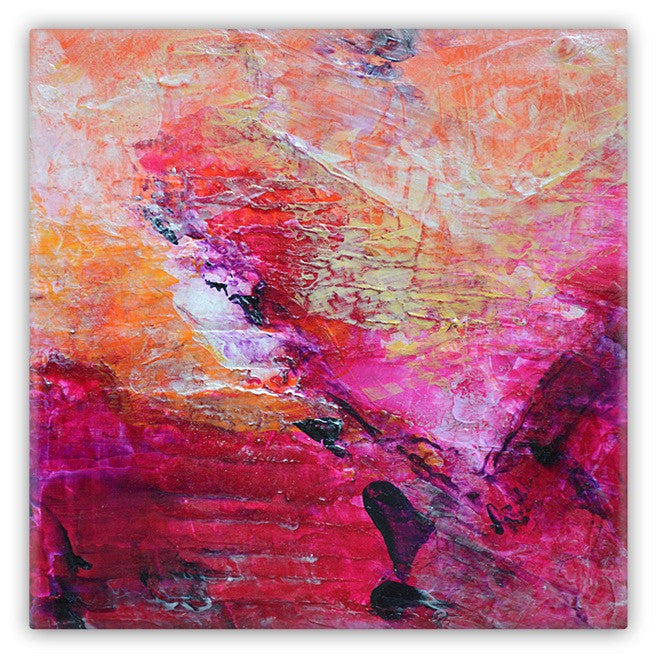 Abstract Heart Pink Fuchsia Orange Art Magnet 2x2 square Metal 1067