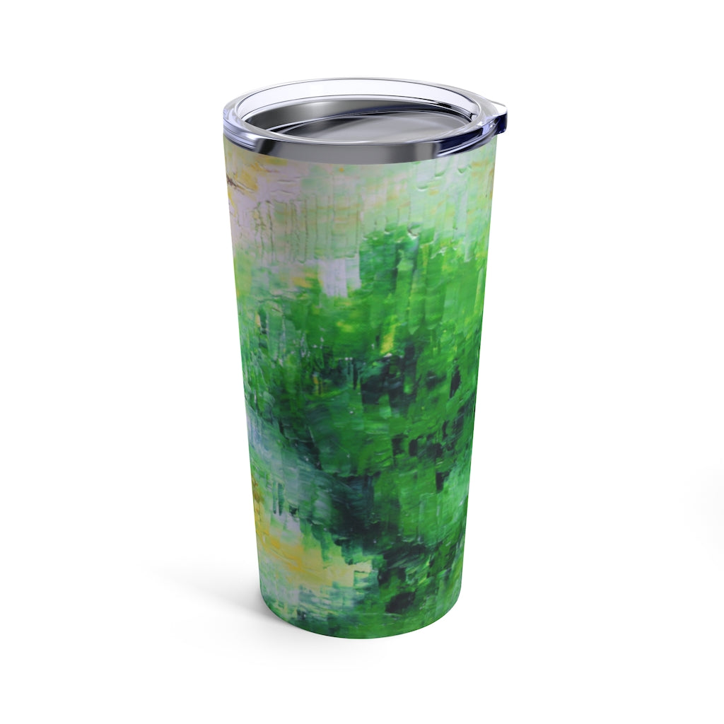 Green Artsy Travel TUMBLER 20oz with Lid Abstract Style