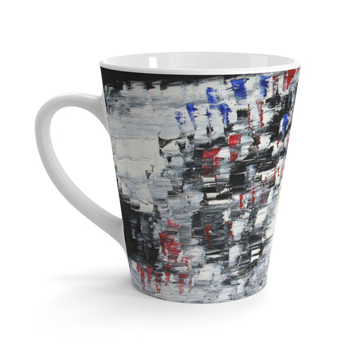 Black and White Coffee LATTE MUG Cool B&W Abstract Design