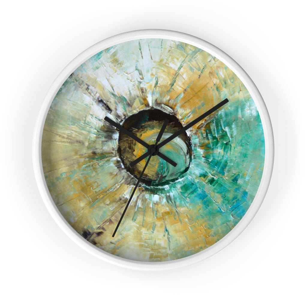 Turquoise WALL CLOCK Unique Abstract Art in Earth Tones