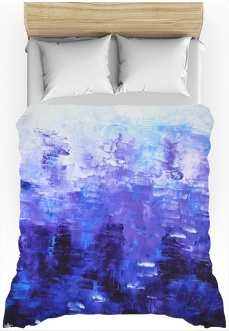 Indigo Blue Abstract Duvet Cover - Blue White, unique