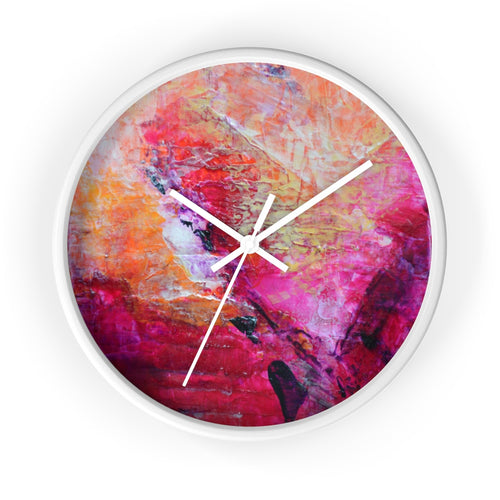 Artsy Heart WALL CLOCK Pink Orange Tones Unique Art Gift