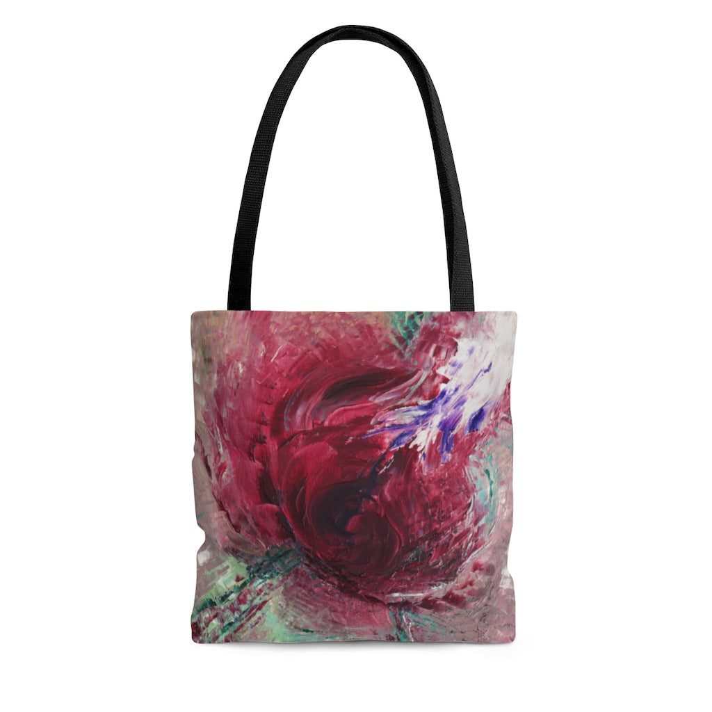 Abstract Rose TOTE BAG printed with Expressive Red Taupe Art