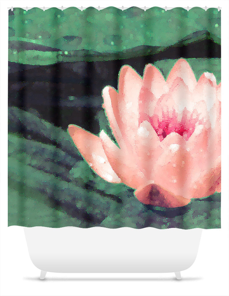 Lotus Flower Art Shower Curtain - Green, Pastel Coral Red