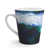Energetic Artsy LATTE MUG with Navy Blue Abstract Art Print