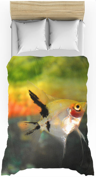 Angel Fish - Duvet Cover Multi-Colored Green Orange Teal Black