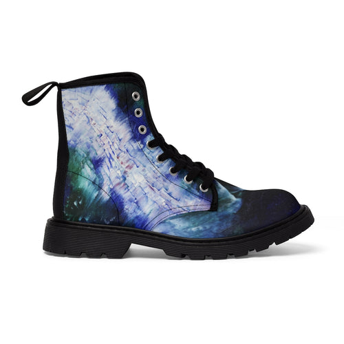 Artsy Blue CANVAS BOOTS for Women Abstract Art
