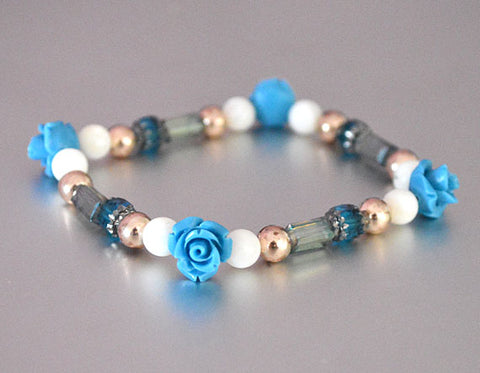 BLUE ROSES Stackable Bracelet w Rose Gold toned Beads - Roses Jewelry Floral Gifts for her Stretch Beaded Bracelet